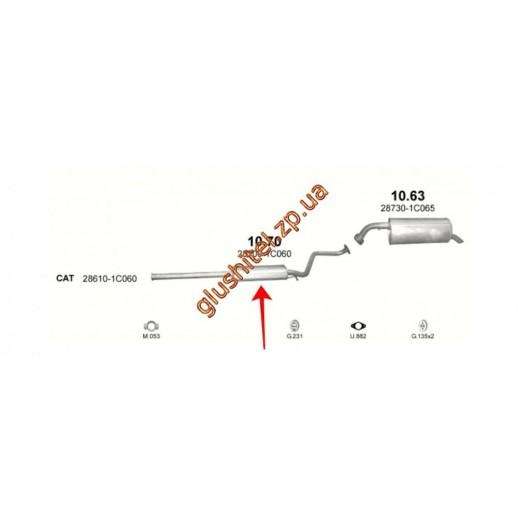 Глушитель средняя часть HYUNDAI: GETZ 1.1/1.3 02-  купить в Минске