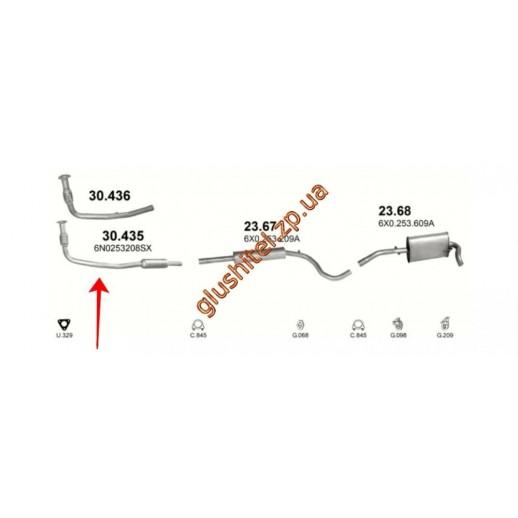 Глушитель передняя часть вместо катализатора VW: POLO 1.0/1.3/1.4 94-99, LUPO 1.0 98-00 , SEAT AROS 1.0/1.4 97-00  купить в Минске